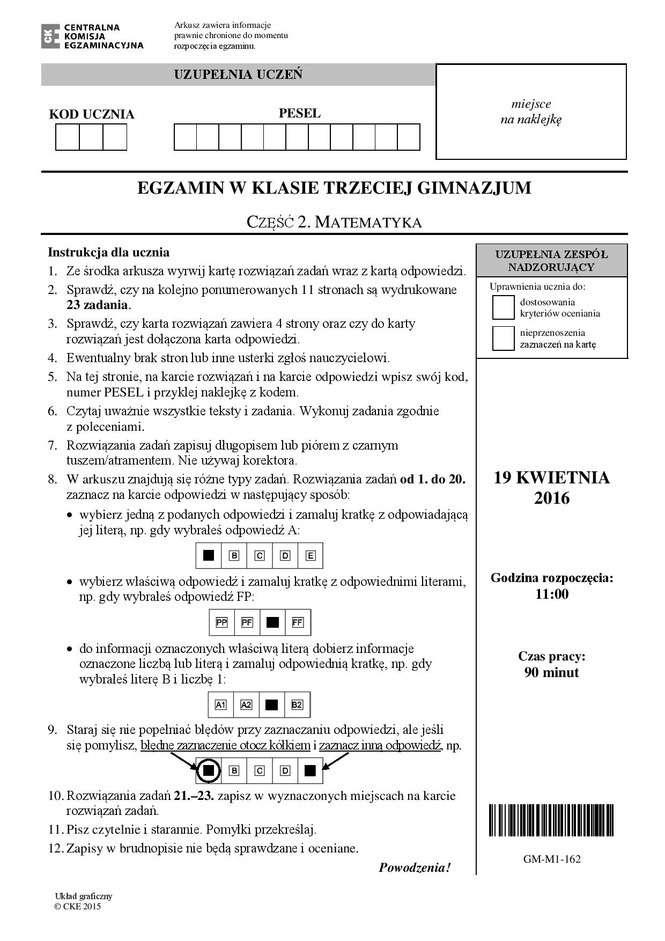 test gimnazjalny matematyka 2021 odpowiedzi